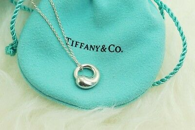 "AUTHENTIC Tiffany & Co. Sterling Eternal Circle Pendant Necklace 16"" (#1168)"