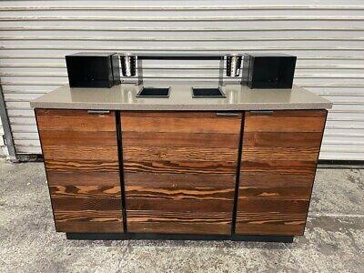 """54"""" Reclaimed Wood Coffee Creamer Condiment Trash Waste Station Prep Table #4159"""