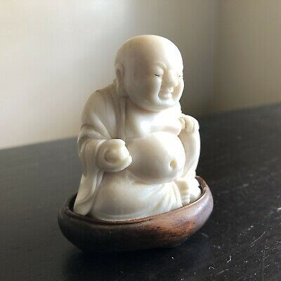 Fine Antique Chinese Carved Buddha Wood Stand Scholar Art SIGNED