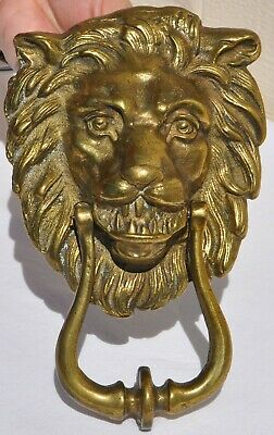 Large Vintage Solid Cast Brass Lion Head Figural Door Knocker Old Antique-Style