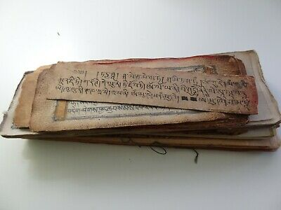 Antique Mongolian Tibetan Buddhist Various Manuscript Leaves Bundle