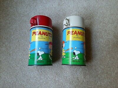 Vintage 1959 TWO Peanuts by Schulz Metal Thermoses King Seeley Antiques-Original