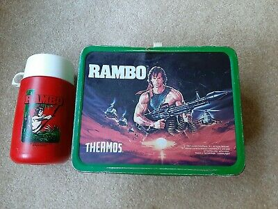 Vintage 1985 Rambo Lunch box WITH Matching Thermos By King Seeley Antique