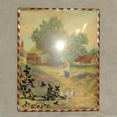 Wall Art VINTAGE Framed Small Mother Daughter Geese Bird Slightly Convex