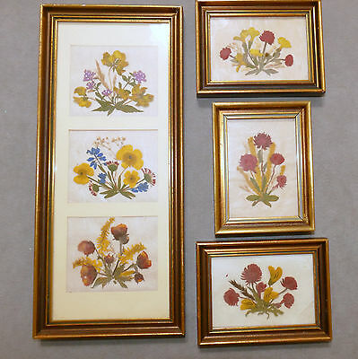 Wall Art VINTAGE Framed Small VINTAGE Wood Flowers AUSTRIA Buttercup Lot of 4