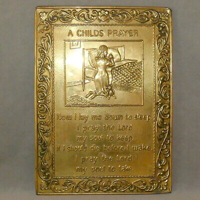 Wall Art VINTAGE Religious A CHILD'S PRAYER Brass Embossed 9x11 USA SELLER