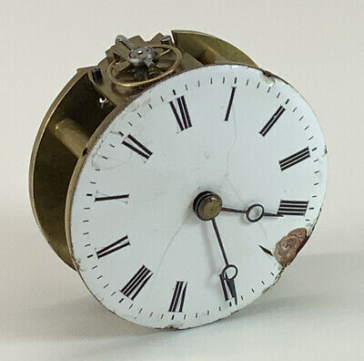Antique Enamel Carriage Clock Movement 8 Day, brass, French?
