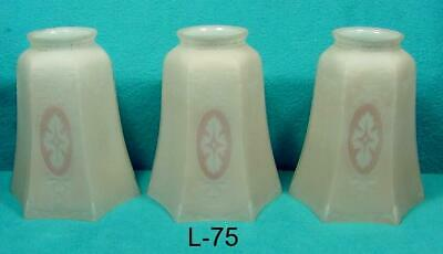 """L-75  Antique Glass Shades, Three Frosted Classy Shades, 2 1/4"""" Fitter Style"""