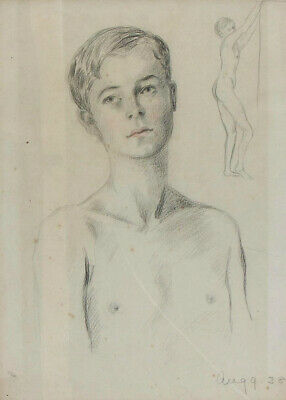 A 1930's portrait / study of a boy / young man Framed 1938