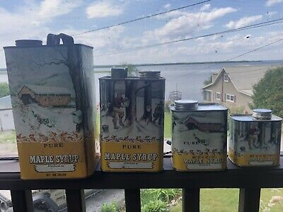 (4) Vintage 1970's Wisconsin Midwest 🍁 Syrup Gallon Tin Cans Farmhouse Find