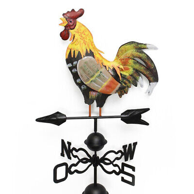 Iron Structure Colorful Rooster Design Craft Garden Weather Vane Wind Direction