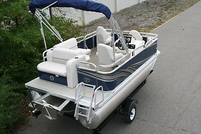 Little pontoon boat sale-New 14 Ft pontoon boat---- 25 hp and trailer