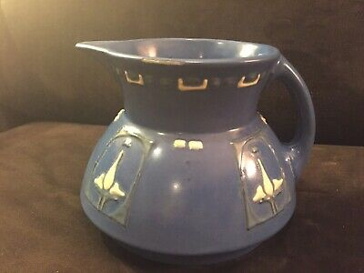 Beautiful Early Roseville Aztec Pottery Arts & Crafts Floral Decorated Pitcher