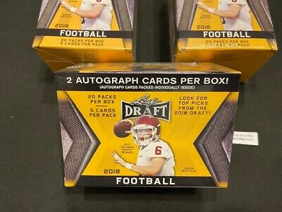 New-  Sealed  2018 Leaf Draft Football Blaster Box- with 2 AUTOGRAPHS PER BOX