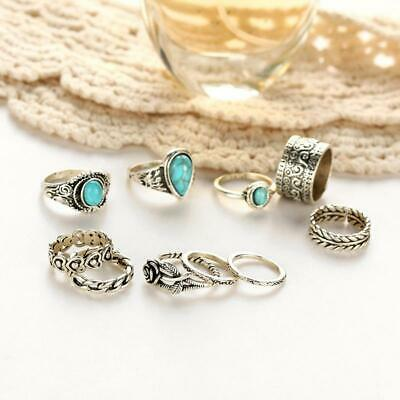 Boho Vintage Joint Ring Alloy Elegant Accessories Gift Ornaments 10 Piece Set HS