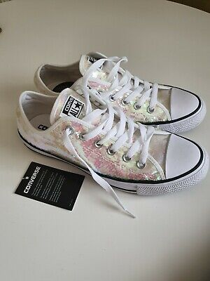 BNWT white sequins Womens Girls CONVERSE ALL STAR Trainers Pumps Size 39/  6