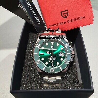 "Uk Stock Pagani Design Automatic Submariner""Hulk"" Homage Divers Watch Seiko Nh35"