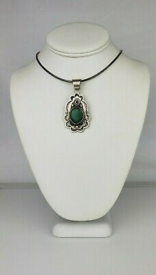 Vintage Navajo Albert MacCabe Large Sterling Silver Turquoise Pendant Signed