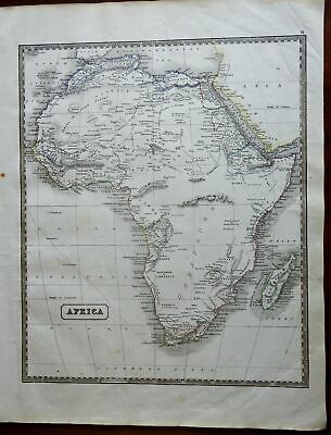 Africa Continent w/ vast Mountains of the Moon 1846 scarce map