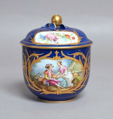 A Wonderful Antique 19Th Century French Sevres Porcelain Covered Sucrier