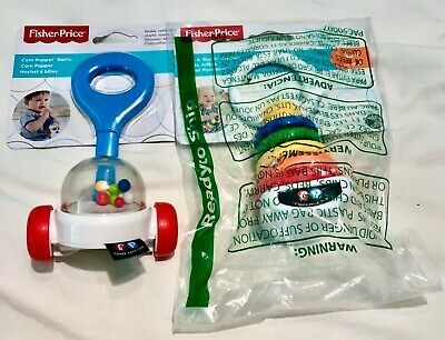 Brand New Fisher Price Baby Toys - Corn Popper Rattle - Rock a Stack Clacker