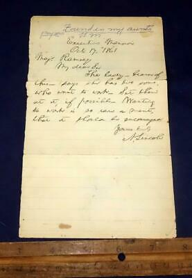 ABRAHAM LINCOLN LETTER EXECUTIVE MANSION October 17 1861 Major Ramsey