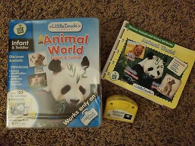 ANIMAL WORLD ENGLISH SPANISH Leap Frog Little Touch Pad Learning System