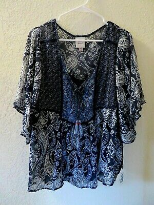 NEW Women's Top Size Medium Bohemian Style Knox Rose Blue Sheer with Cami