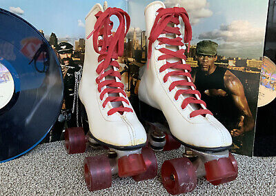 Vintage Chicago Roller Skates Sz 7 Derby Red Wheels, Original Laces? Ex Rolling