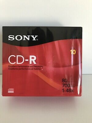 NEW SONY CD-R 700MB, 1-48x 10 PACK NEW