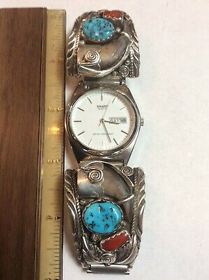 Mark Yazzie Signed Sterling Navajo Coral And Turquoise Watch Tips, quartz watch