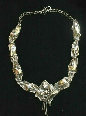 Marksz Handmade Sterling Silver Abstract Modernist Necklace