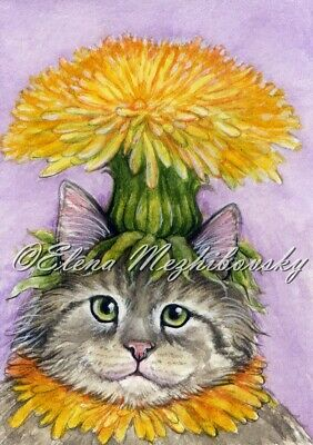 ACEO Original Miniature Watercolor Cat in the Hat by Elena Mezhibovsky