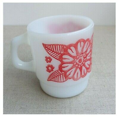 Anchor Hocking Fire King White Milk Floral Pattern D Handle Stackable Mug Cup