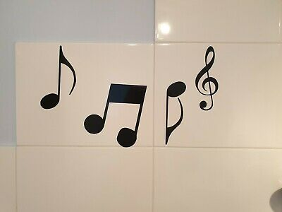 4 x Music Notes Kitchen Tile Car Van Window Wall Vinyl Sticker BUY 2 GET 1FREE