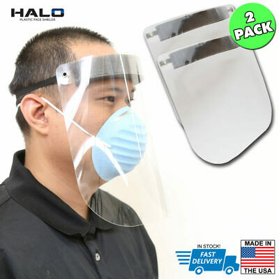 HALO 2-pack Plastic Reusable Full Face FDA Compliant Shield Mask, US-Made, Clear