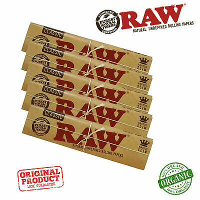 5x RAW Classic Natural Unrefined Rizla Rolling Papers Slim 110mm King Size CHEAP