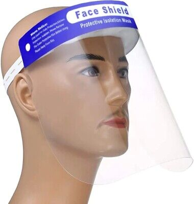 Safety Full Face Shield Guard Protector Mask Clear+Head Band Elastic Reusable