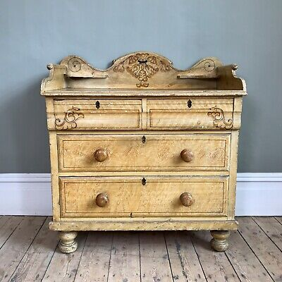 Victorian Pine Chest of Drawers In Original Paint Finish