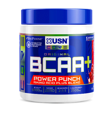 USN BCAA+ Power Punch 55g- Cherry Muscle Recovery And Performance Supplement