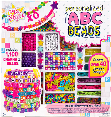 Children's Jewelry Making Kit ABC Colorful Beads 375pc Makes 12 Bracelets