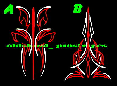 Pinstripe Pinstriping Custom Motorcycle Tank Fender Hood Vinyl Decal Set Of 2 9 25 Picclick