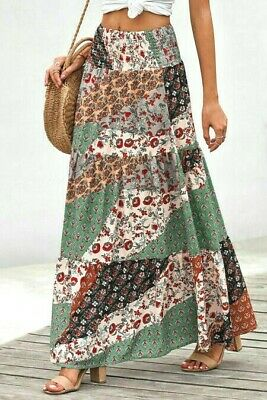 Multicolored Patchwork Printed Boho Ruffle Tiered Smocked Maxi Skirt LARGE 12-14