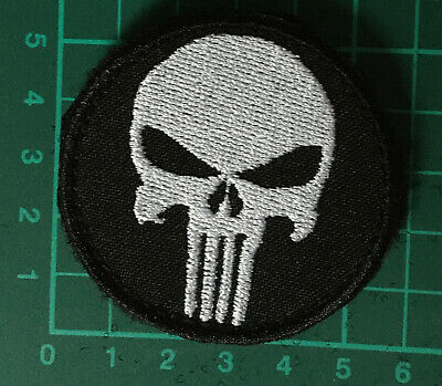 Green Black Punisher Skull Morale Patch VELCRO BRAND Hook Fastener Compatible