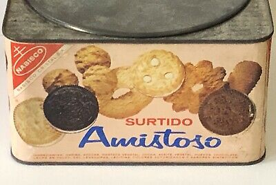 Vintage Nabisco Tea Time Assorted Biscuits TinMetal Can With Hinged Lid