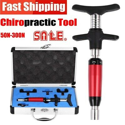 6 Levels Manual Chiropractic Adjusting Tool Spine Correction 4 Massager Heads IO