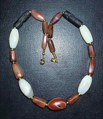 Roman Ancient Carnelian agate And 2 Stone Cylinder seal intaglio beads Necklace