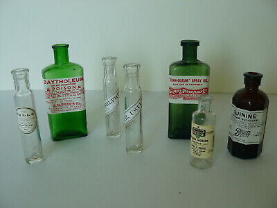 7 Different Vintage Coloured Glass Apothecary Bottles (1)