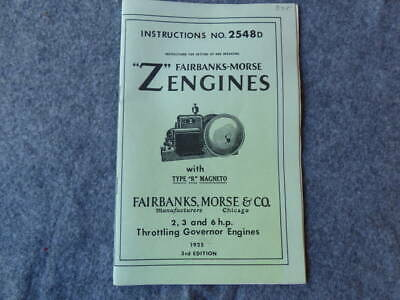 Fairbanks Morse Instruction Manual 2548D 2-3&6 HP Throttling Governor Engines