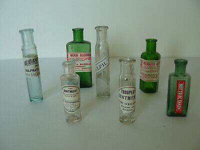 7 Different Vintage Coloured Glass Apothecary Bottles (2)